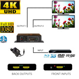 4K HDMI Powered Splitter 1X2 1 in 2 out Repeater Amplifier 4Kx2K 1080p,Connect 2 TVs