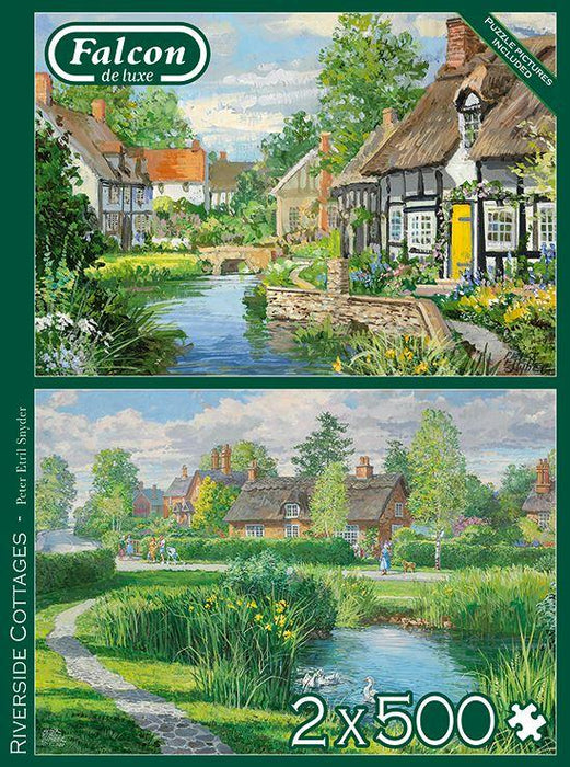 New 2020 -  Falcon de luxe Riverside Cottages  2 x 500 Piece Jigsaw Puzzles - All Jigsaw Puzzles