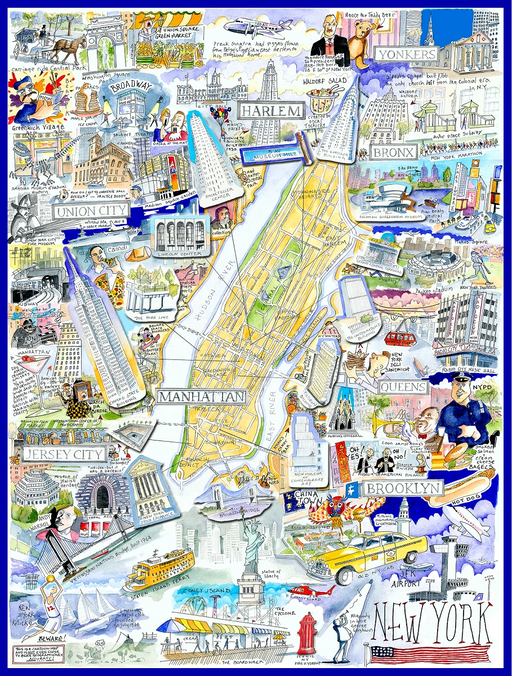 Map of New York City - Tim Bulmer 1000 Piece Jigsaw Puzzle - All Jigsaw Puzzles