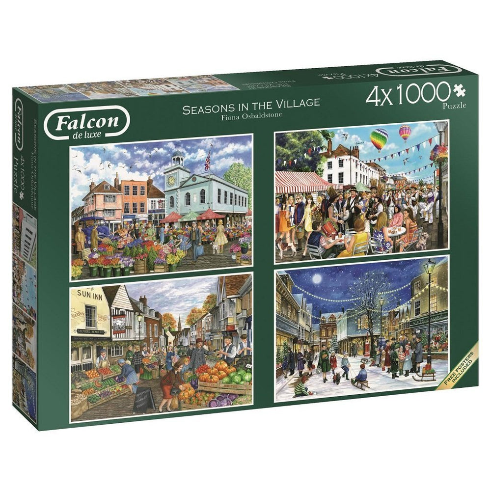 Seasons in the Village 4 x 1000 Piece Jigsaw Puzzle - All Jigsaw Puzzles