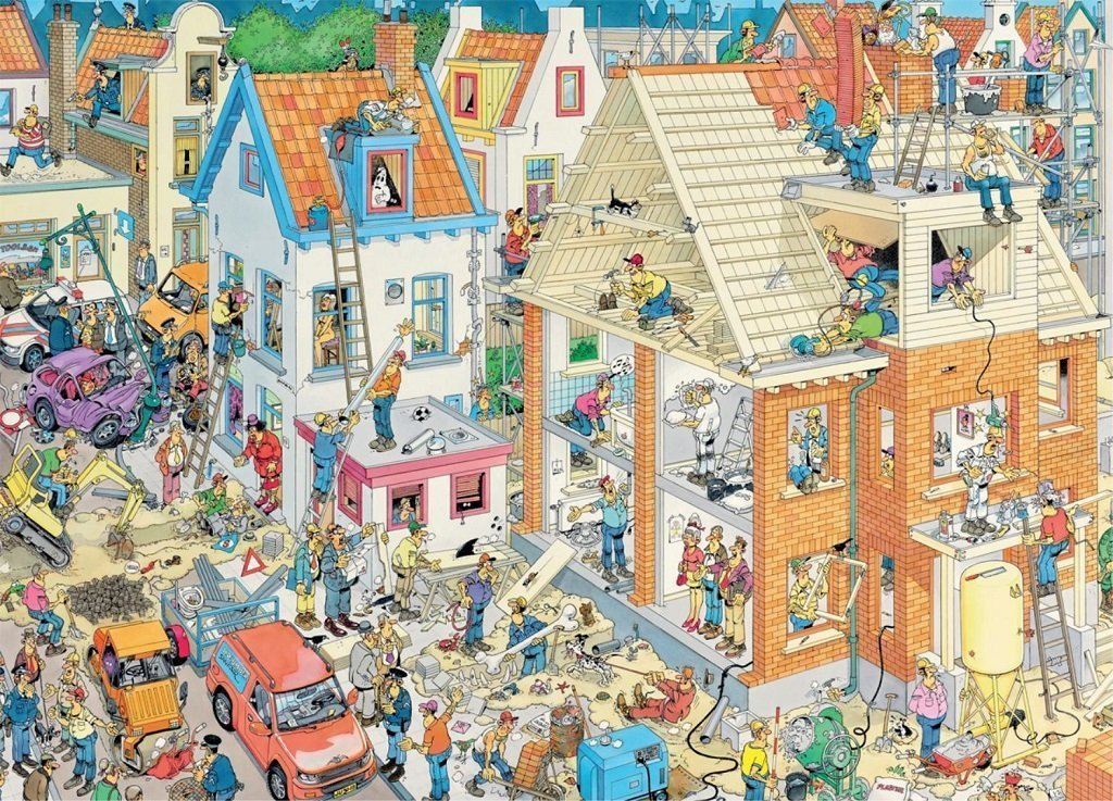 Jan van Haasteren Building Site 1500 Piece Jigsaw Puzzle - All Jigsaw Puzzles