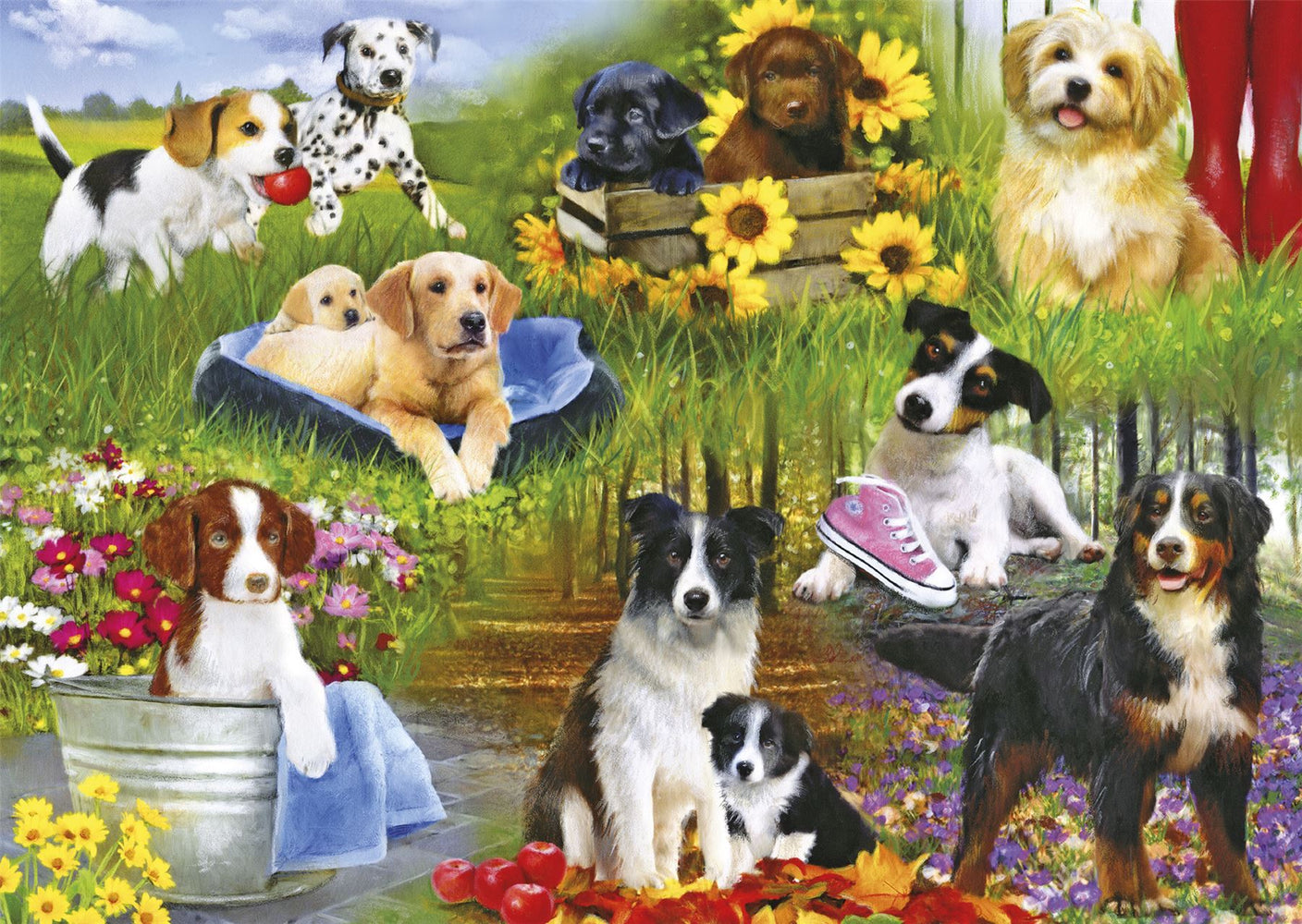 New 2020 Gibsons Playful Pups 500 piece Jigsaw Puzzle - All Jigsaw Puzzles