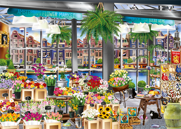 Amsterdam, Flower Market - Wanderlust Collection - 1000 Piece Jigsaw Puzzle - All Jigsaw Puzzles