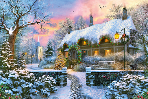 Whitesmith's Cottage in Winter 1500 Piece Jigsaw Puzzle - All Jigsaw Puzzles