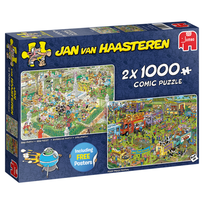 Jan van Haasteren - Food Festival 2 x 1000 pieces with FREE Poster - All Jigsaw Puzzles