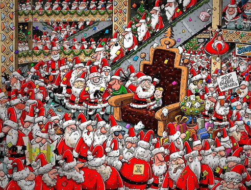 Chaos at Santa's Grotto 1000 or 500XL Christmas jigsaw puzzle - All Jigsaw Puzzles