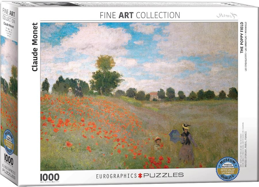 The Poppy Field by Monet 1000 Piece Jigsaw Puzzle box