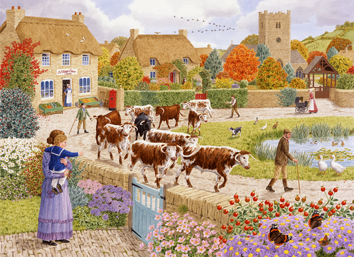 Autumn Village - Sarah Adams 1000 or 500XL Piece Jigsaw Puzzle - All Jigsaw Puzzles