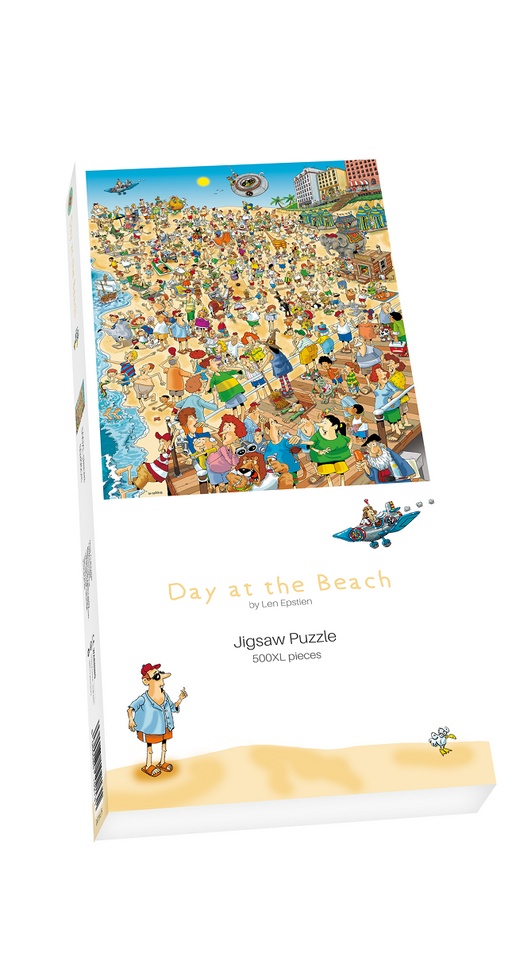 Day at the Beach - Len Epstein 1000 or 500XL Piece Jigsaw Puzzle - All Jigsaw Puzzles