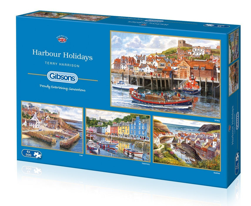 Harbour Holidays 4 x 500 Piece Jigsaw Puzzle - All Jigsaw Puzzles