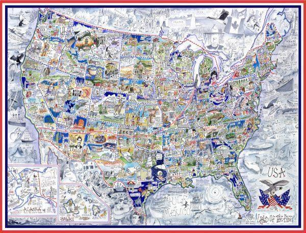 USA Map - Tim Bulmer 1000 Piece Jigsaw Puzzle - All Jigsaw Puzzles