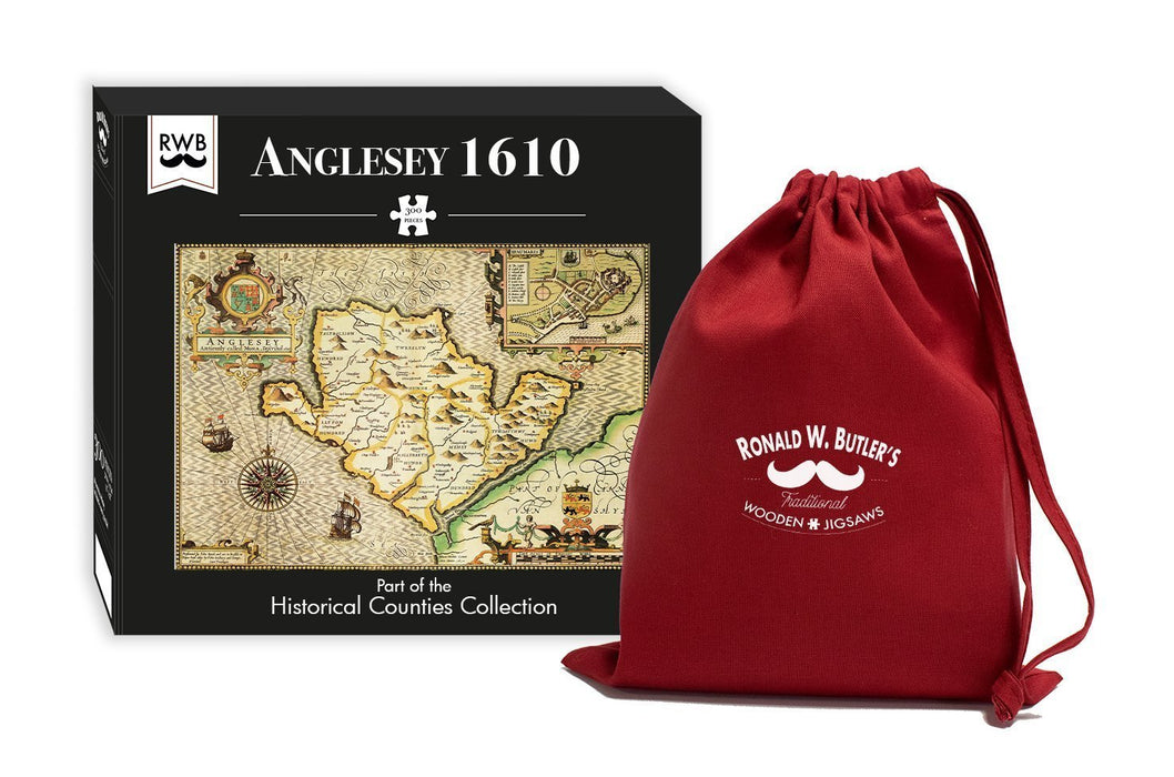 Anglesey 1610 Historical Map 300 Piece Wooden Jigsaw Puzzle - All Jigsaw Puzzles