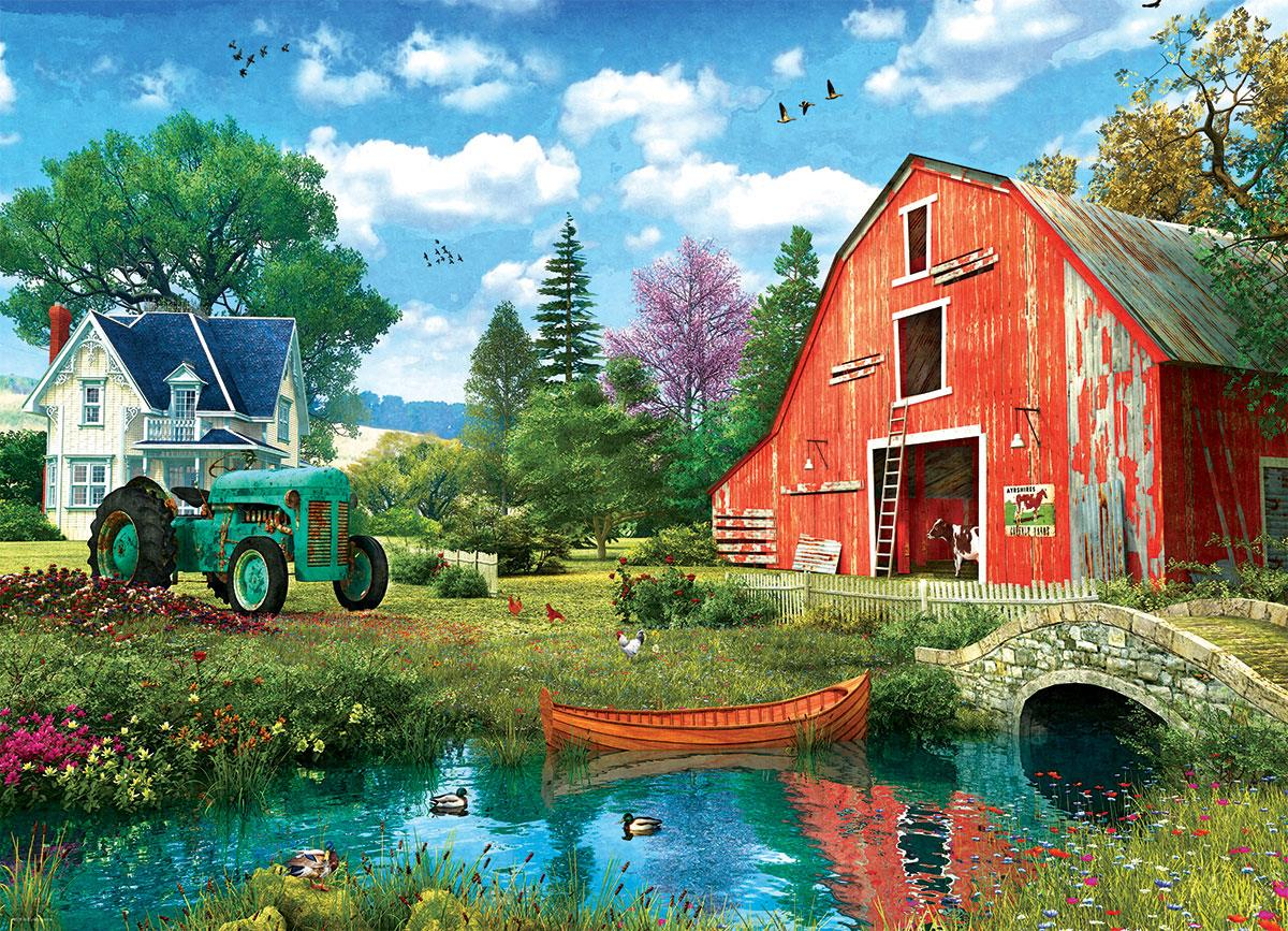 The Red Barn - Dominic Davison 1000 Piece Jigsaw Puzzle - All Jigsaw Puzzles