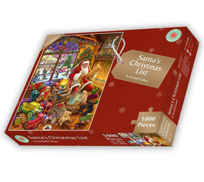 Santa's Christmas List 1000 or 500XL Piece Jigsaw Puzzle By Rudolf Farkas box