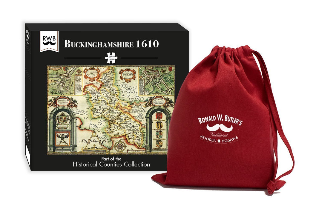 Buckinghamshire 1610 Historical Map 300 Piece Wooden Jigsaw Puzzle - All Jigsaw Puzzles