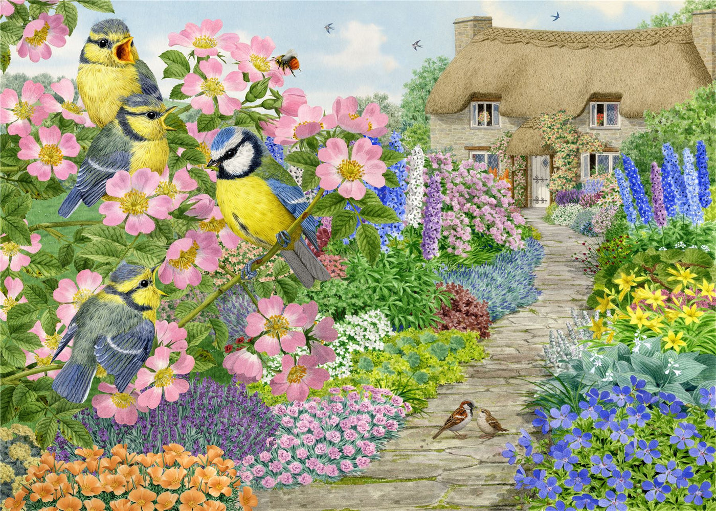 Cottage Garden Birds - Sarah Adams 1000 and 500 Piece Jigsaw Puzzle - All Jigsaw Puzzles