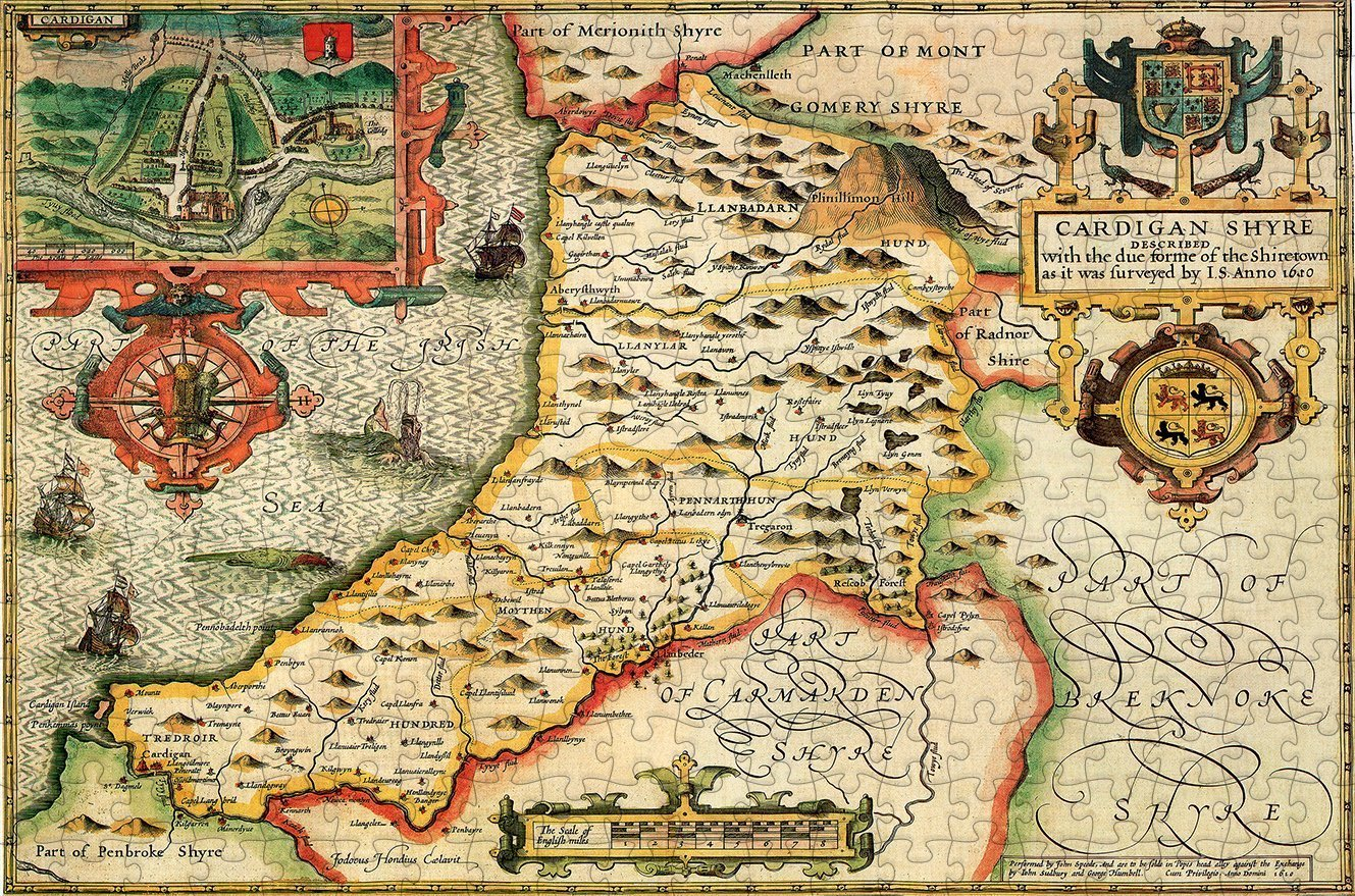 Cardiganshire 1610 Historical Map 300 Piece Wooden Jigsaw Puzzle - All Jigsaw Puzzles