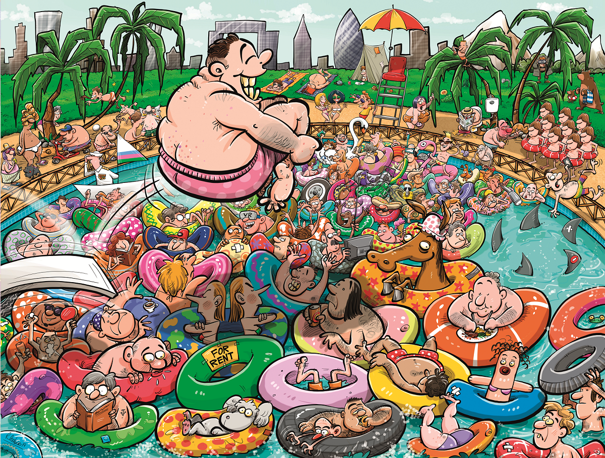Chaos at the Swimming Pool 1000 Piece Jigsaw Puzzle- Chaos no.19 - All Jigsaw Puzzles