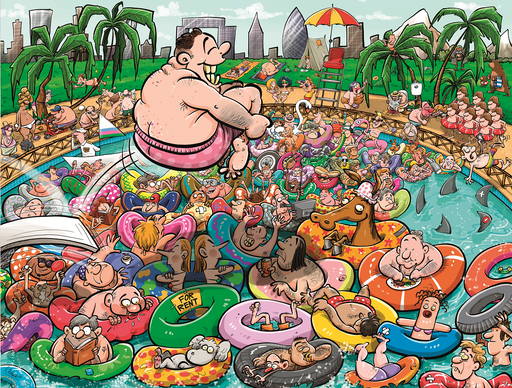 Chaos at the Swimming Pool 1000 or 500 Piece Jigsaw Puzzle - All Jigsaw Puzzles