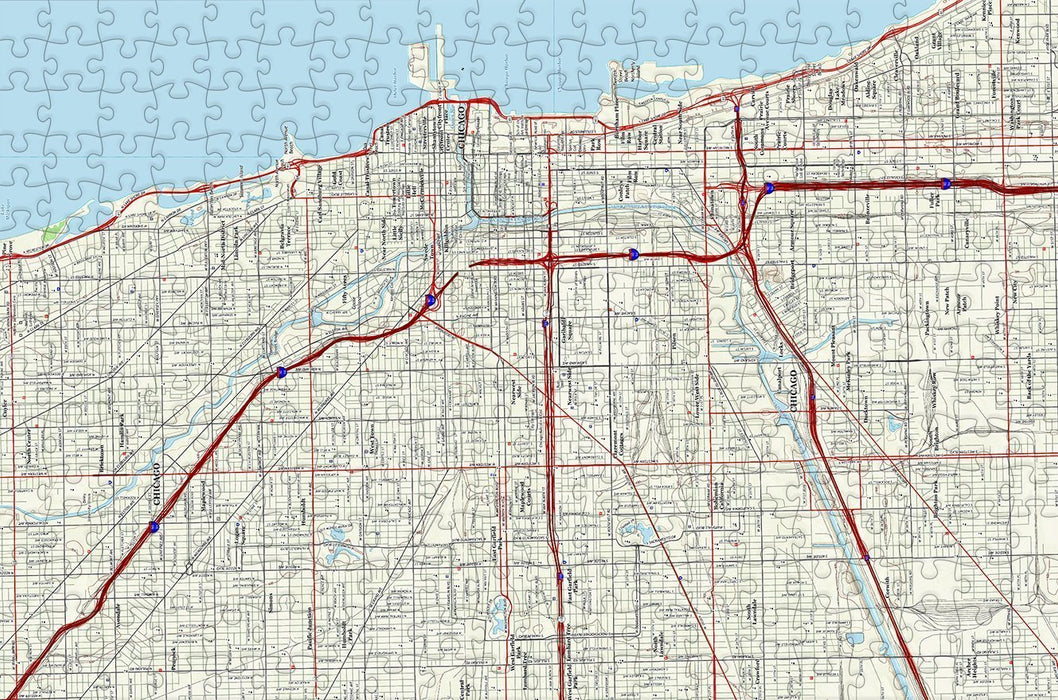 Chicago City Map Jigsaw Puzzle - 300 Piece Wooden Jigsaw Puzzle - All Jigsaw Puzzles