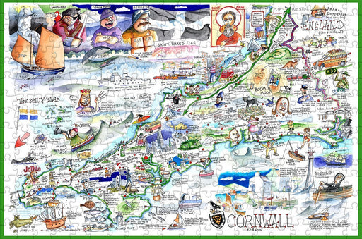 Map of Cornwall - Tim Bulmer - 300 Piece Wooden Jigsaw Puzzle - All Jigsaw Puzzles