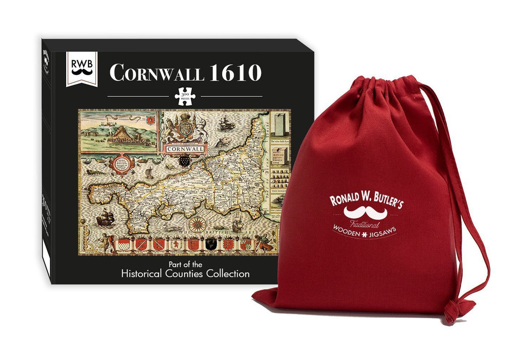 Cornwall 1610 Historical Map 300 Piece Wooden Jigsaw Puzzle - All Jigsaw Puzzles