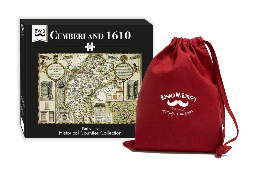 Cumberland 1610 Historical Map 300 Piece Wooden Jigsaw Puzzle - All Jigsaw Puzzles