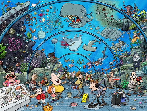 Chaos at the Aquarium 500 or 1000 Piece Jigsaw Puzzle - Chaos no. 21