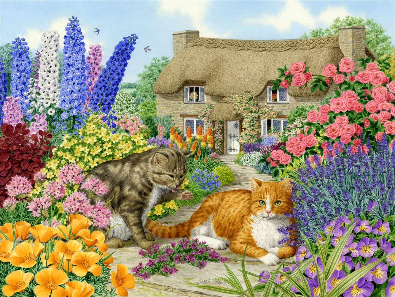 Spring Cottage Cats - Sarah Adams 1000 and 500 Piece Jigsaw Puzzle - All Jigsaw Puzzles