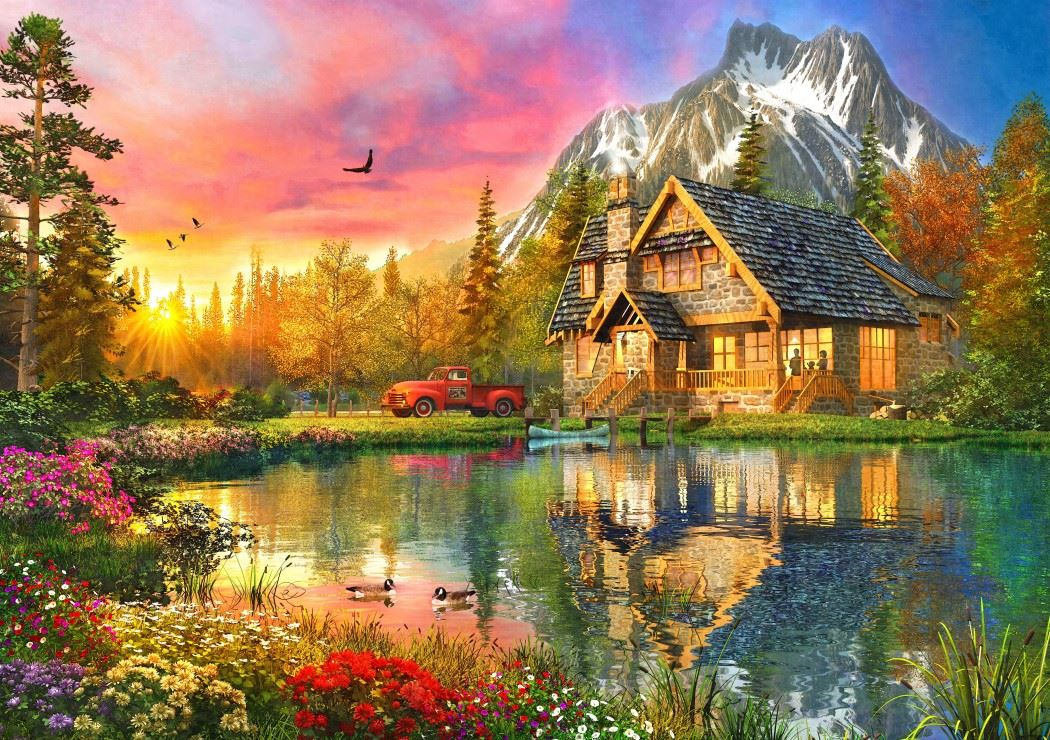 The Mountain Cabin - Dominic Davison 1000 Piece Jigsaw Puzzle