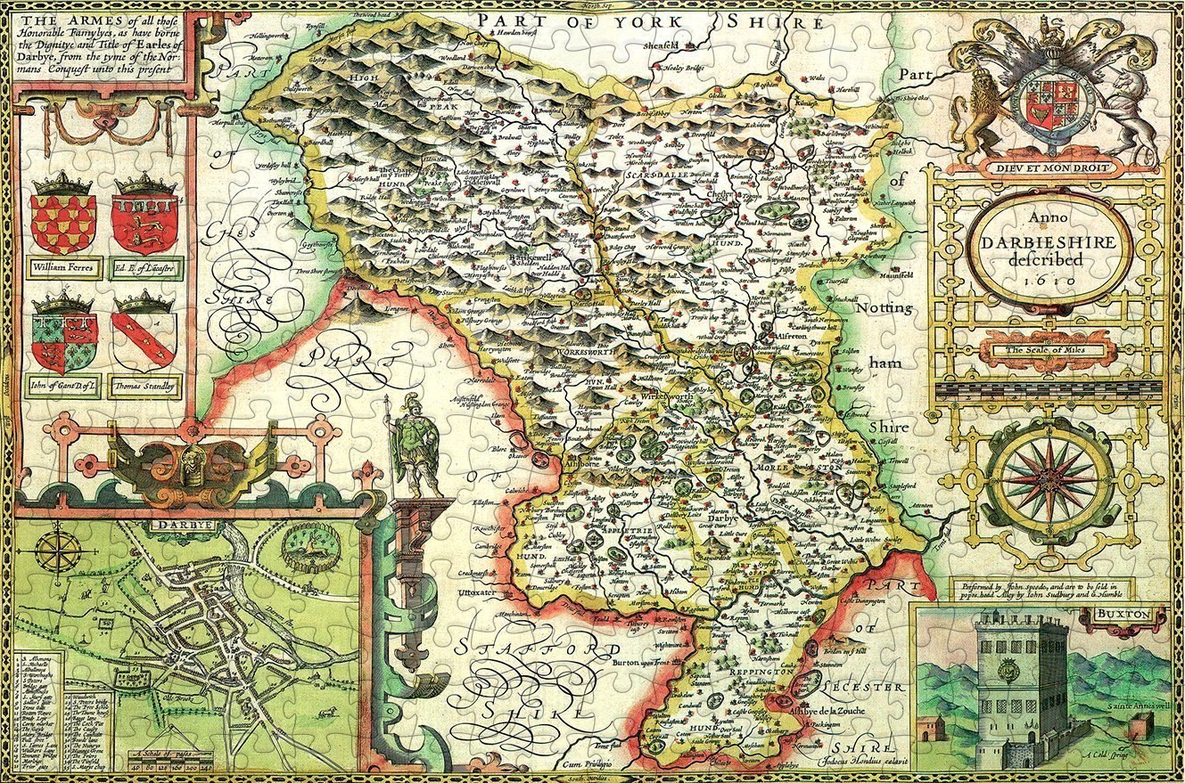 Derbyshire 1610 Historical Map 300 Piece Wooden Jigsaw Puzzle - All Jigsaw Puzzles