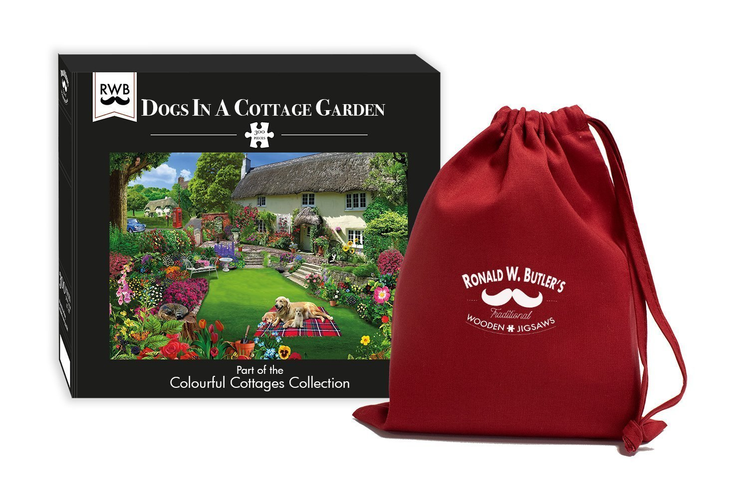 Dogs in a Cottage Garden 300 Piece Wooden Jigsaw Puzzle - All Jigsaw Puzzles