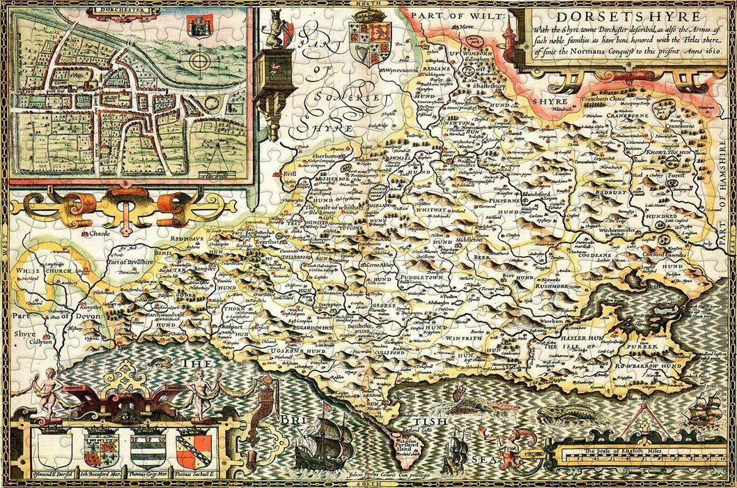 Dorset 1610 Historical Map 300 Piece Wooden Jigsaw Puzzle - All Jigsaw Puzzles
