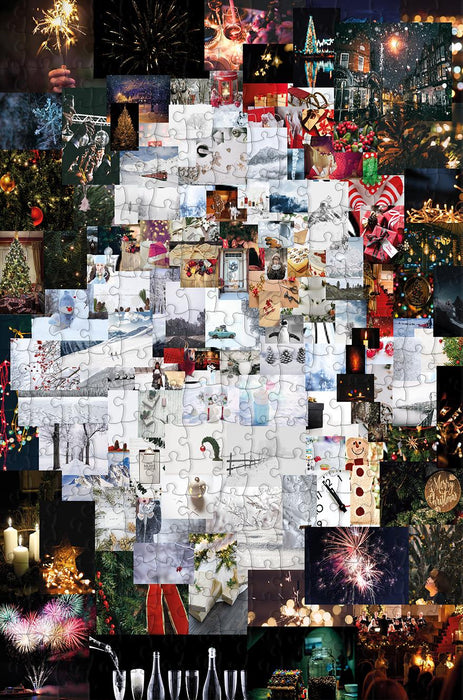 Father Christmas Collage - 300 Piece Wooden Jigsaw Puzzle - All Jigsaw Puzzles