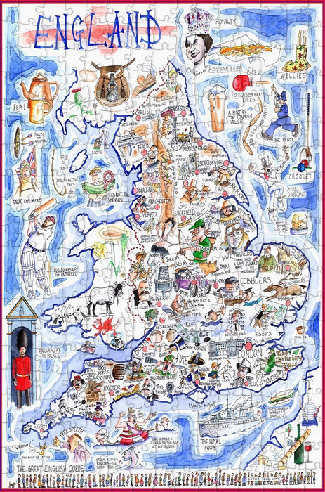Map of England - Tim Bulmer - 300 Piece Wooden Jigsaw Puzzle - All Jigsaw Puzzles