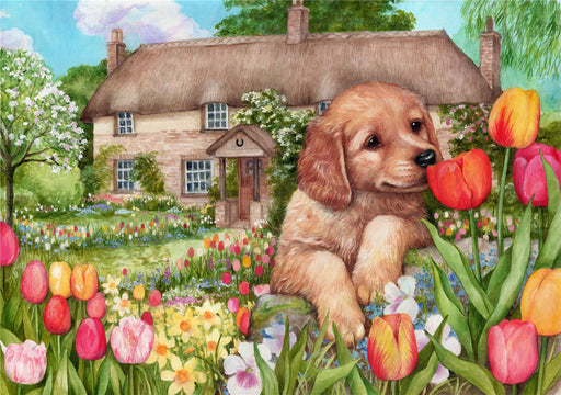 Puppy at Tulip Cottage - Debbie Cook 1000 & 500 Piece Jigsaw Puzzle - All Jigsaw Puzzles
