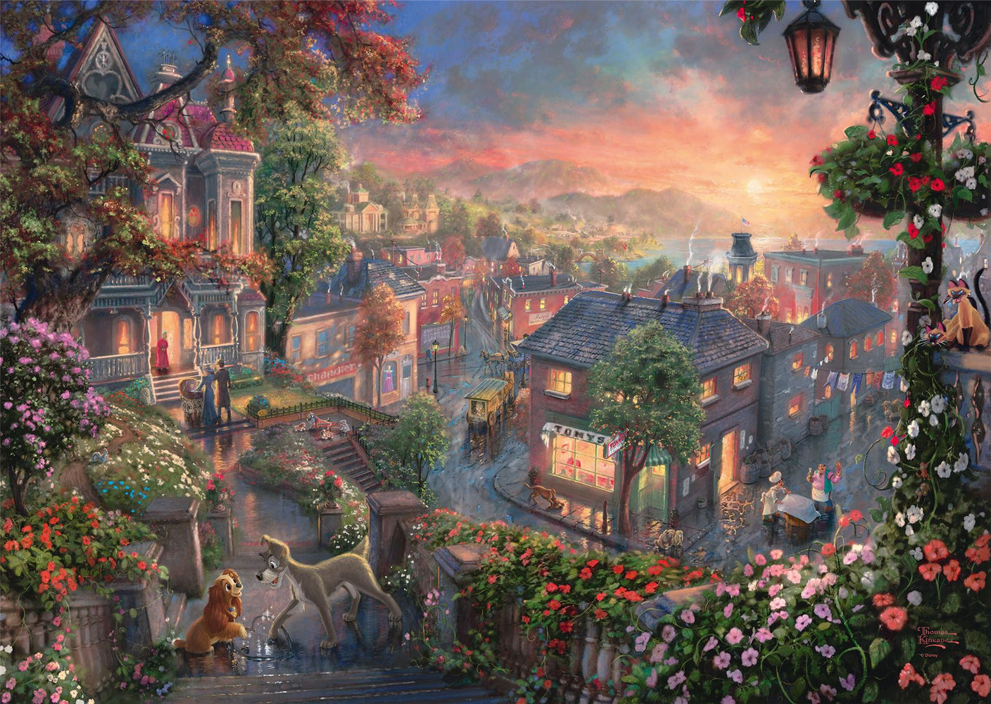 Thomas Kinkade - Disney Lady and the Tramp 1000 Pieces Jigsaw Puzzle - All Jigsaw Puzzles