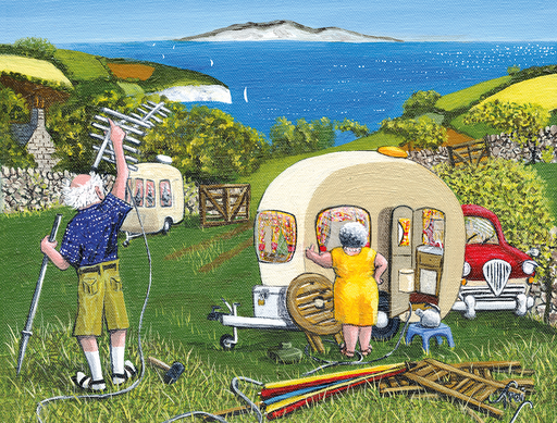 First Things First - The Camping Collection - Trai Hiscock 1000 or 500 Piece Jigsaw Puzzle - All Jigsaw Puzzles