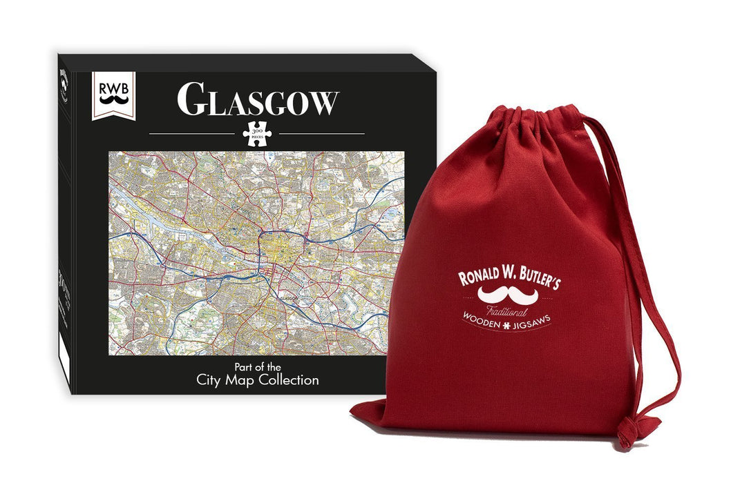 Glasgow City Map Jigsaw Puzzle - 300 Piece Wooden Jigsaw Puzzle - All Jigsaw Puzzles