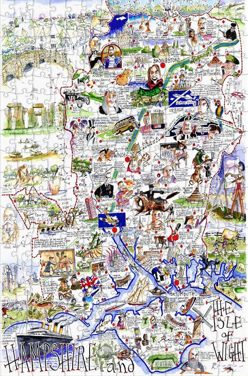 Map of Hampshire and The Isle of Wight - Tim Bulmer - 300 Piece Wooden Jigsaw Puzzle - All Jigsaw Puzzles