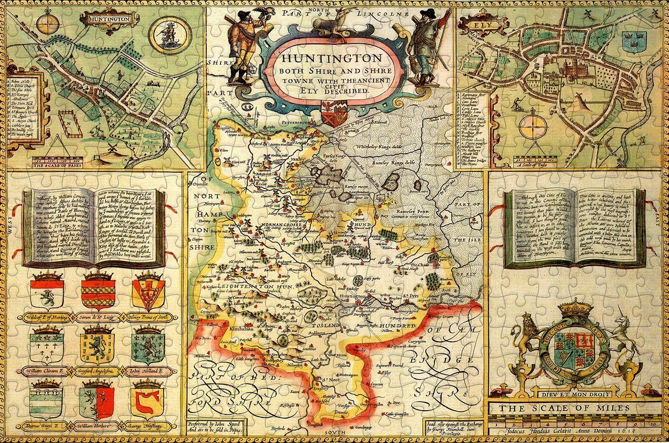Huntingdonshire 1610 Historical Map 300 Piece Wooden Jigsaw Puzzle - All Jigsaw Puzzles
