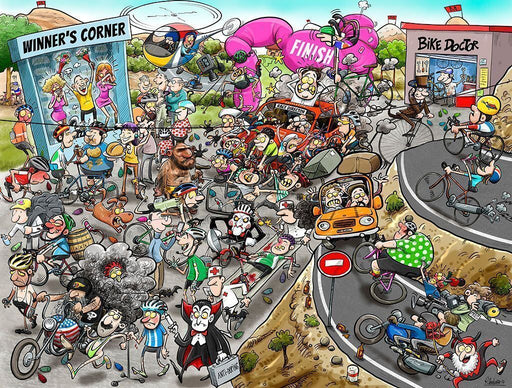 Chaos at the Cycling Tournament 1000 or 500 Piece Jigsaw Puzzle - All Jigsaw Puzzles