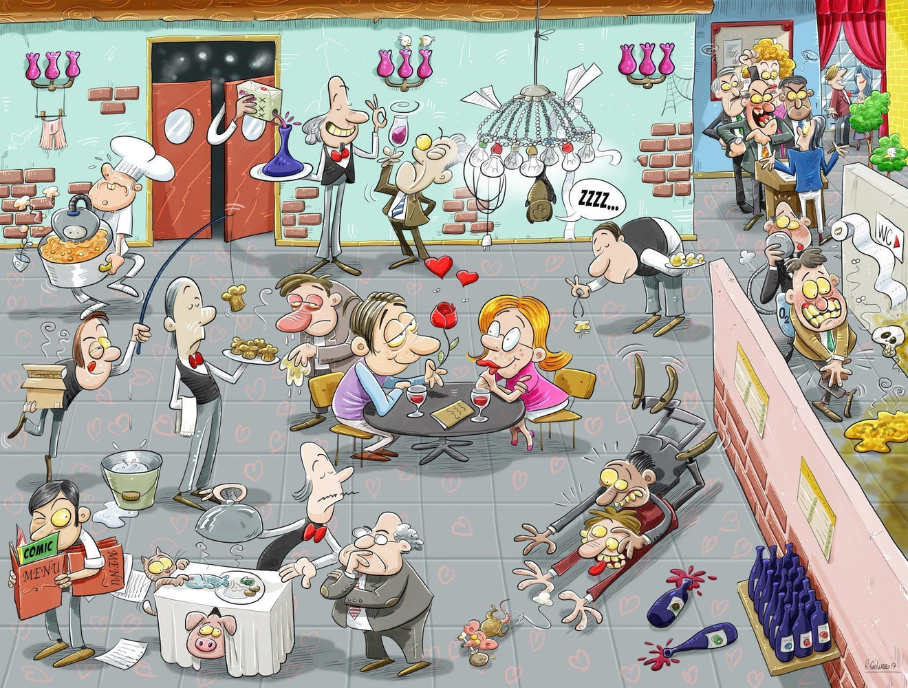 Chaos on Valentine's Day 1000 or 500 Piece Jigsaw Puzzle- Chaos no.4 - All Jigsaw Puzzles