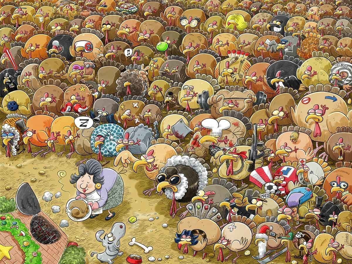 Christmas Chaos at Turkey Farm 1000 or 500 Piece Jigsaw Puzzle - Chaos no.2 - All Jigsaw Puzzles