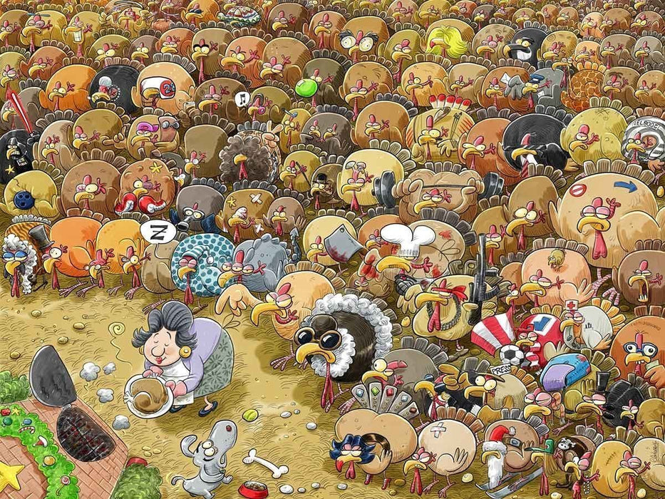 Christmas Chaos at Turkey Farm 1000 or 500 Piece Jigsaw Puzzle - All Jigsaw Puzzles