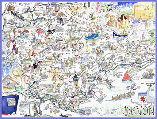 Map of Devon - Tim Bulmer 1000 Piece Jigsaw Puzzle - All Jigsaw Puzzles