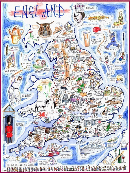 Map of England - Tim Bulmer 1000 Piece Jigsaw Puzzle - All Jigsaw Puzzles