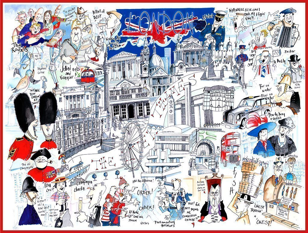 Map of London - Tim Bulmer 1000 Piece Jigsaw Puzzle - All Jigsaw Puzzles