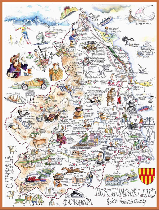 Map of Northumberland - Tim Bulmer 1000 Piece Jigsaw Puzzle - All Jigsaw Puzzles