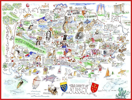 Map of Sussex - Tim Bulmer 1000 Piece Jigsaw Puzzle - All Jigsaw Puzzles